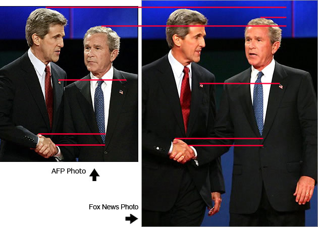 Comparison of AFP image and AP image doctored by Fox News